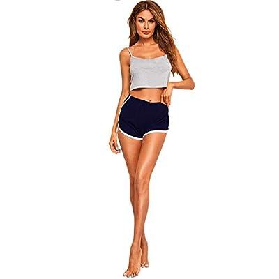 SweatyRocks Women's Nightwear Lingerie Strapy Crop Top and Shorts Pajama Set at Women's Clothing store