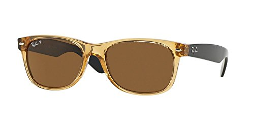 Ray-Ban RB 2132 945/57 55mm New Wayfarer Honey W/ Crystal Brown Polarized - Ray Sizes Ban 2132