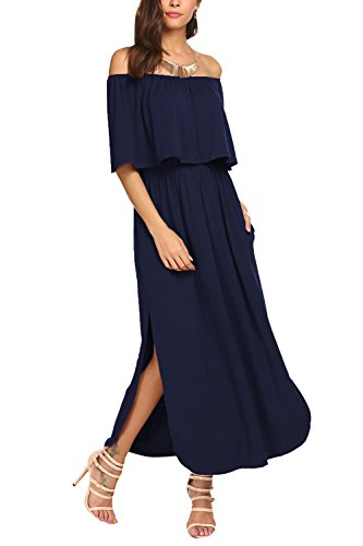 BLUETIME Women Short Sleeve Pockets Off The Shoulder Maxi Long Dress (L, Navy Blue) (Split Ruffle Dress)