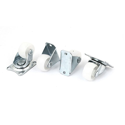 Uxcell  a11060300ux0553 Plastic Wheel Fixed Swivel Caster Set, 1-Inch, White, 4-Piece ()