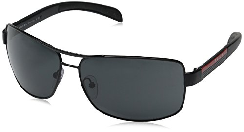 Prada Sport PS54IS Sunglasses-1BO/1A1 Matte Black/Black Rubber (Gray - Sunglasses Prada Black Matte