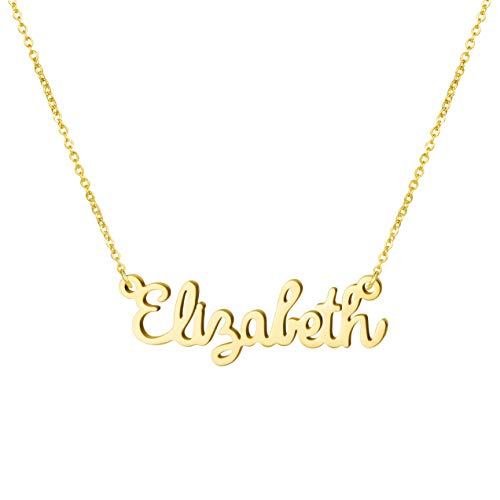 (Awegift Name Necklace Big Initial Gold Plated Best Friend Jewelry Women Gift for Her Elizabeth )