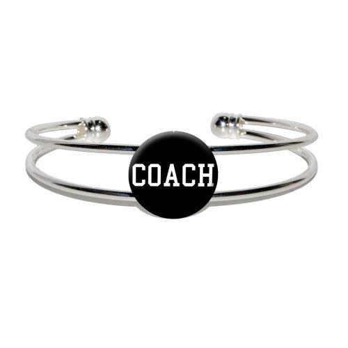 Coach - Team Sport - Novelty Silver Plated Metal Cuff Bangle Bracelet