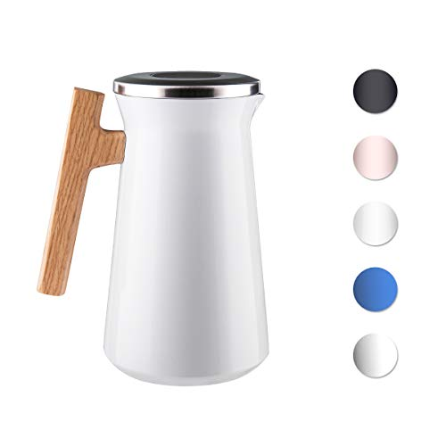 SDREAM 34 Oz Coffee Carafe Thermal For Kettle Stainless Steel Double Walled Vacuum Insulation Hot Beverage or Tea, White, 34 oz