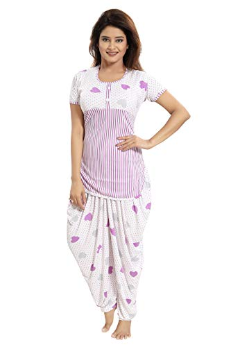 0e29426814 TUCUTE Top and Dhoti Style Bottom Night Suit Nighty Nightdress Night Gown  for Women and Girls Size  L XL XXL Red