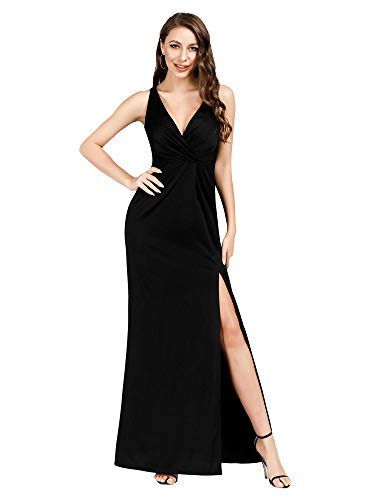 - Women's Sexy V-Neck Wrap Dess High Thigh Slit Evening Maxi Dress Black US12