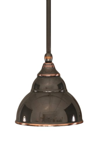 Toltec Lighting 23-BC-427 Stem Mini-Pendant Light Black Copper Finish with Double Bubble Metal Shade, 6-Inch