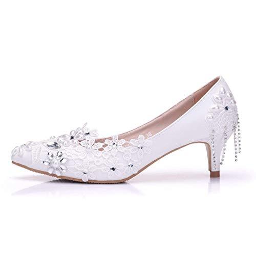 Formale Formale Formale Chains Lace Lace Lace Satin Colore 5 UK White Heel Shoes Flowers 5cm Party Dimensione Med Heel White Ladies Matrimonio 5cm Heel 5 ZHRUI PpYWAq8X
