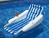 "Best Pool Central Floating Chairs - 50"" Blue and White Sunchaser Swimming Pool Floating Review"