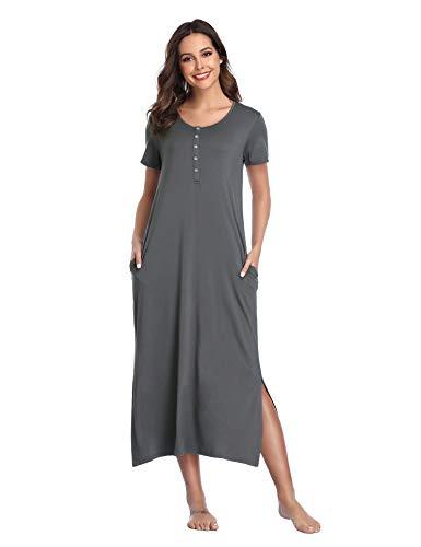 Lusofie Sleepwear for Women Nightshirts Knit Soft Nightgown Long Loungewear (Grey, ()
