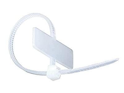 Monoprice Marker Cable Tie 4 inch 18LBS, 100pcs/Pack - White