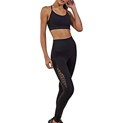 WODOWEI Women 2 Piece Outfits Leggings+Sports Bra Yoga Set Long Pants Tracksuits (YO316-black-M)