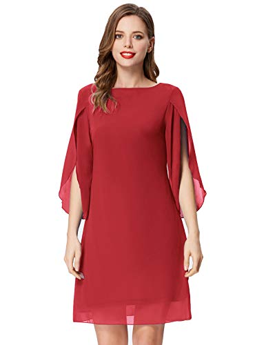 Women Round Neck Loose Shift Dress for Party Wedding Knee Length Red M