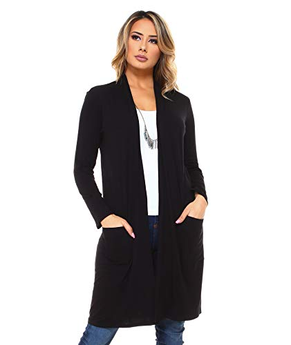 Very Light Jersey Cardigan - Isaac Liev Women's Long Lightweight Cardigan with Front Pockets (Large, Black)