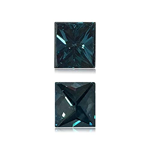 (Mysticdrop 0.72 Cts of 5.5x4.8x3.5 mm SI2 Princess Cut Teal Blue Diamond (1 pc) Loose Color Diamond)
