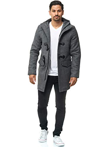 Indicode Uomo Liam Montgomery con Colletto Alto E Cappuccio   Moderno Cappotto di Lana con 5 Borse Caldo Cappotto Invernale Imbottito Cappotto Uomo Inverno Giacca Cappotto per Uomo