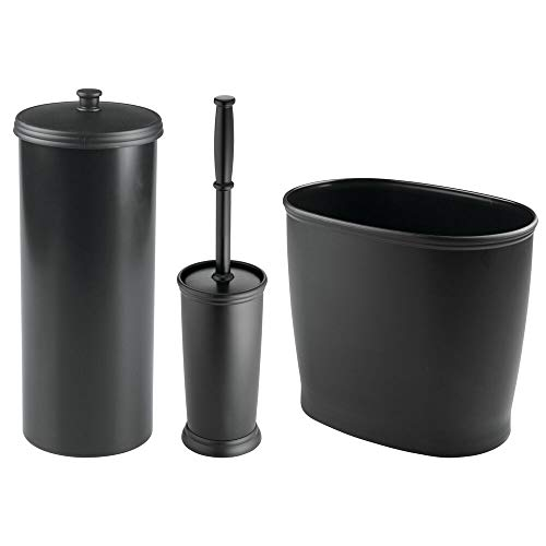 mDesign Modern Plastic Bathroom Storage and Cleaning Accessory Set - Includes Bowl Brush, 3-Roll Toilet Paper Canister with Lid, Wastebasket Trash Can/Garbage Bin - 3 Pieces - Black