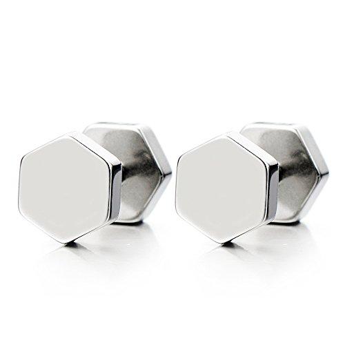 Hexagonale Boucles d'oreilles Homme Femmes - Jauge d'oreille Faux Cheater Fake - Acier Inoxydable - 1 Paire
