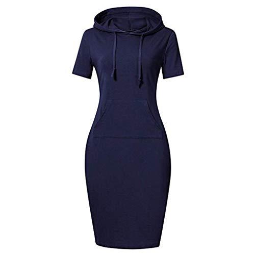 Pullover Stripe Pocket Keen Length Slim Sweatshirt for Women Causal Hoodie Dress