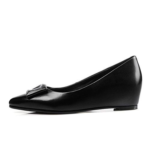 Zapatos de otoño/Punta con las cuñas/ alta hebilla zapatos/Zapatos de las mujeres de talla grande A