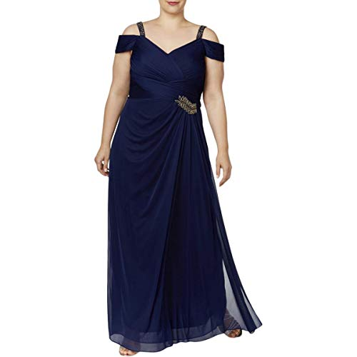 Alex Evenings Women's Plus Size Pleated V Neck Long Dress, Midnight, 16W (Mother Of The Bride Cold Shoulder Dress)