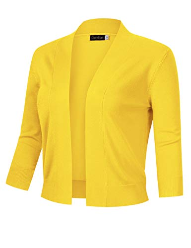 (GloryStar Women's 3/4 Sleeve Open Front Cropped Cardigan Sweater Lightweight Knit Short Shrugs (XL, Yellow))