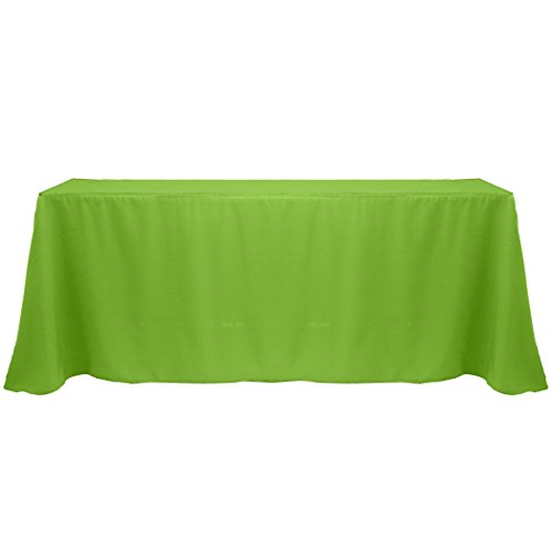 Ultimate Textile (20 Pack) 90 x 132-Inch Rectangular Polyester Linen Tablecloth with Rounded Corners - for Wedding, Restaurant or Banquet use, Lime Green by Ultimate Textile