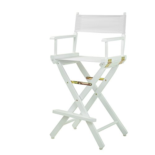 Casual Home Director s Chair ,White Frame White Canvas,30 – Bar Height