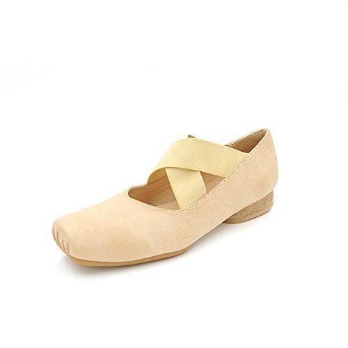 luz con en 39 un sólido una de plano verano Lag ballet color zapatos banda elegante de caucho de chica beige fqApv8