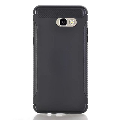 JIALUN-Personality teléfono shell Cubierta trasera dura a prueba de choques de la fibra de carbono ultrafina Cubierta protectora completa de la caja del cuerpo de TPU 360 ° para Samsung Galaxy J5 2017 Black
