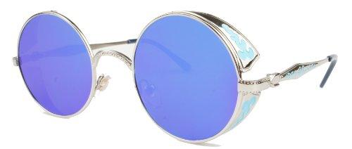 VIVIAN & VINCENT Hippie Retro Vintage Round Sunglasses for Women Metal Frame Shades Silver Blue -
