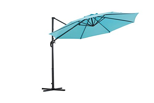 Sunjoy Patio Hanging Umbrella Off Set Outdoor Parasol - Desiged in an attractive way with an adjustable opening angle Rust free Steel bottom frame (anodized finish) Adds style to any outdoor area - shades-parasols, patio-furniture, patio - 31rZr%2BjCjPL -