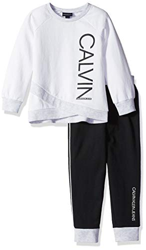 Calvin Klein Girls' Little 2 Pieces Jog Set, White/Black, 5