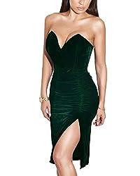 Joyfunear Women S Sexy Strapless Ruched Velvet Split Bodycon Midi Dress Red X Large Hunter Green Large