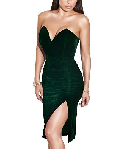Joyfunear Women's Sexy Strapless Ruched Velvet Split Bodycon Midi Dress Red X-Large Hunter Green Large