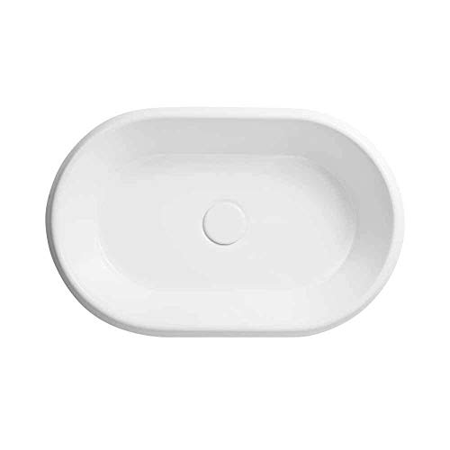 """Ronbow Ovi 22"""" Oval Ceramic Drop-In Vessel Sink Without Overflow In White"""