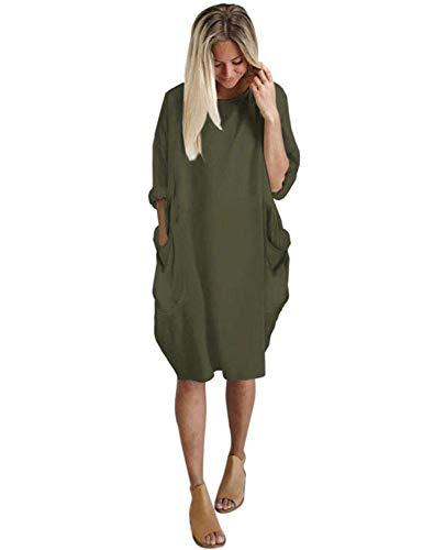 Sweetnight Womens Long Sleeve Casual Loose Pocket T Shirt Dress Oversize Tunic Dress Midi Dresses Tops Plus Size