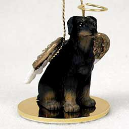 - Doberman Pinscher Angel Dog Ornament - Uncropped Ears - Black &