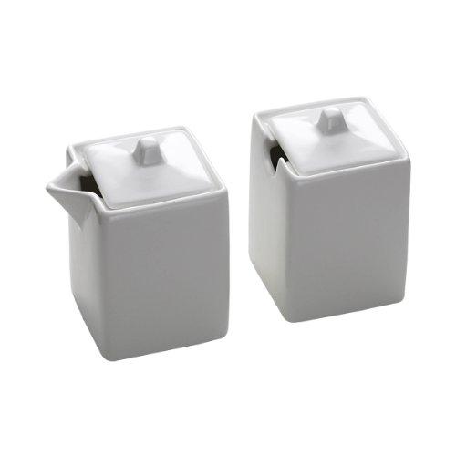 Maxwell & Williams AA52890 Square Milch und Zucker Set, Milchkännchen, Zuckerdose, quadratisch, in Geschenkbox, Porzellan
