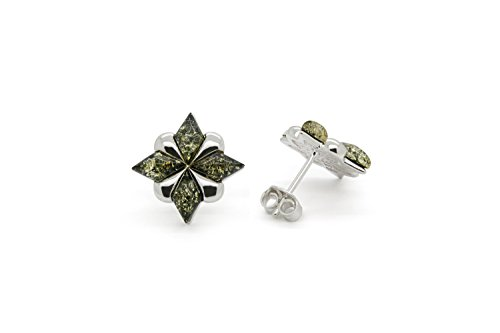 925 Sterling Silver Stud Amber Earrings North Star with Genuine Natural Baltic Green Amber.