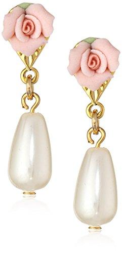 1928 Jewelry Porcelain Rose Pearl Drop Earrings