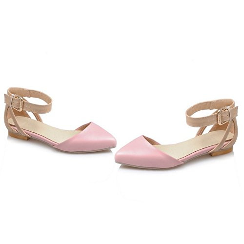 COOLCEPT Mujer Moda Correa de Tobillo Correas Sandalias Plano Cerrado Zapatos con Hebilla con Hebilla Rosado
