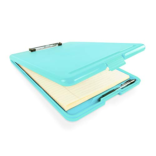 (Slim Plastic Nursing RN Style Coaches Clipboard with Open Foldable Storage, Classroom Teacher College Size (9.5
