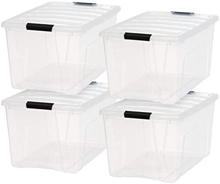 IRIS USA TB-62 Stack & Pull Box, Multi-Purpose Storage Bin, 72 Quart, Clear, 4 Pack