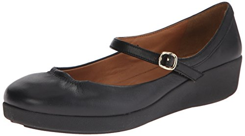 Fitflop F-Pop Leather, Merceditas para Mujer Negro (All Black)