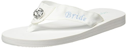 Cathy's Concepts Bride Flip Flops, White, Medium 7/8