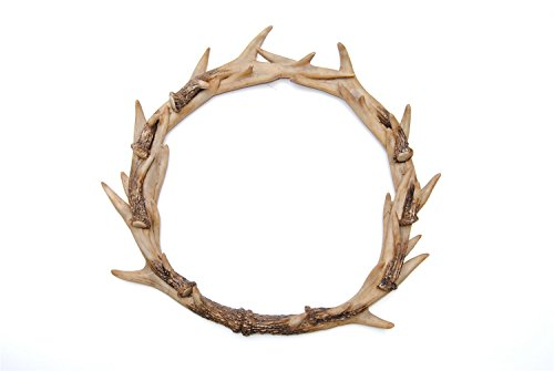 (Near and Deer Faux Deer Antler Wreath - Faux Antlers - Natural Realistic - Replica Stag Antler Wreath - Faux Taxidermy Home Decor - Resin Holiday Decor)