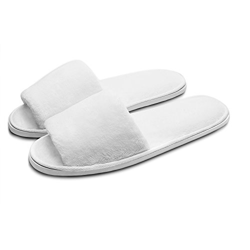 White Bath Slippers - echoapple 5 Pairs Deluxe Open Toe White Slippers Spa, Party Guest, Hotel Travel