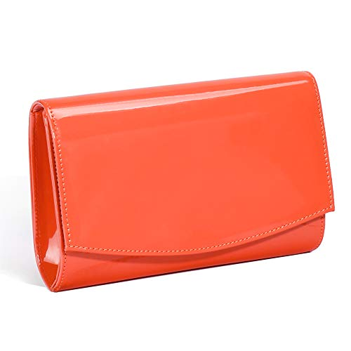 Women Patent Leather Wallets Fashion Clutch Purses,WALLYN'S Evening Bag Handbag Solid Color (Living Coral) ()
