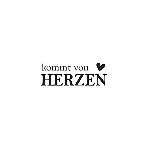 Rayher 29099000 Wood Mounted Rubber Stamp Featuring The Phrase Kommt von Herzen, Stamps Crafting, Card Making Scrapbooking, 1.5cm x ()